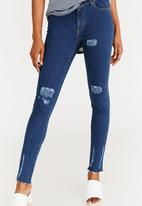 STYLE REPUBLIC - Ripped Skinny Jeans Mid Blue