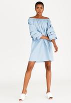 edit - Bardot Dress with Sleeve Detail Blue