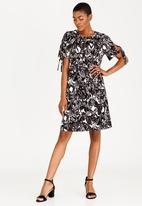 edit - Tie Sleeve Cold Shoulder Dress Black and White