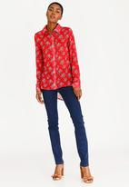 edit - Long Sleeve Button Down Blouse Red