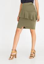 edit - Frill Detail Pencil Skirt Dark Green