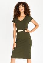 edit - Short Sleeve Pencil Dress Khaki Green