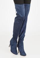 Miss Black - Belle Thigh High Boots Navy
