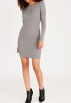 Sissy Boy - Bardot Dress with Embellishment Detail Grey
