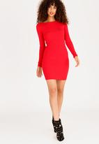 Sissy Boy - Bardot Dress with Embellishment Detail Red