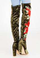 Footwork - Royal Embroidered Velvet Boots Khaki Green