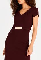 edit - Short Sleeve Pencil Dress Dark Purple