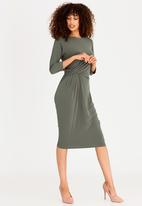 edit - 3/4 Sleeve Shift Dress Taupe