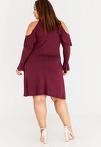 d2ba8f5003a Cold Shoulder Dress with Frill Detail Dark Red STYLE REPUBLIC PLUS ...