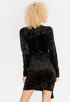 c(inch) - Asymmetrical Wrap Dress- Black