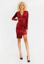 c(inch) - Asymmetrical Wrap Dress Burgundy