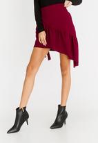 STYLE REPUBLIC - Frill Detail Mini Skirt Burgundy