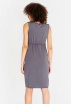 edit - Sleeveless Drape Dress with Trim Grey