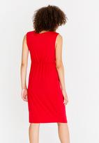edit - Sleeveless Drape Dress with Trim Red