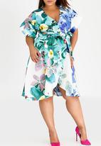 RUFF TUNG - Orchid Combo Tuli Wrap Dress Green