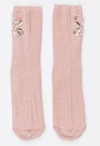 STYLE REPUBLIC - Diamante and Pearl Lurex Socks Pale Pink