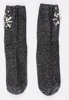 STYLE REPUBLIC - Diamante and Pearl Lurex Socks Black