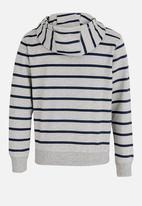 POP CANDY - Boys Grey Melange Stripe Hoody Grey
