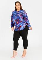 RUFF TUNG - Printed Zip Shirt Blue