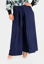 Leigh Schubert - Satin-like Kerryne Wrap Wide Leg Pants Navy
