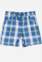 Twin Clothing - Check Block Print Shorts Blue