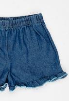 POP CANDY - Frilly denim shorts - blue