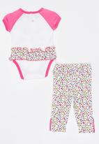 Twin Clothing - Short Sleeve Butterfly Three Piece Set Mid Pink