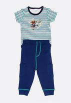 Twin Clothing - Two Piece Romper With Jogger Set Mid Blue