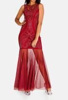 Sissy Boy - Sleeveless Beaded Maxi Dress Burgundy