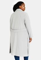 edit Plus - Wool-like Longline Coat Grey