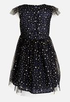 POP CANDY - Short Sleeve Star  Printed Dress Navy