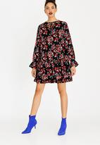 c(inch) - Volume Choker Neckline Dress Multi-colour