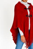 BLACKCHERRY - Toggle Button Poncho Red