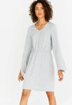 Vero Moda - Natural Long Sleeve Dress Pale Grey