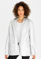 Tokyo Laundry - Metallic Coated Jacket with Hood Silver