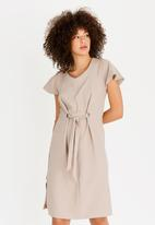 edit - Shift Dress with Front Ties Taupe