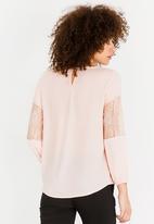 edit - Lace Inset Lantern Sleeve Top Peach