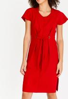 edit - Shift Dress with Front Ties Red