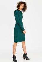 Brave Soul - Gold Button Detail Dress Green