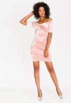 Sissy Boy - Velvet Bardot Dress Pale Pink