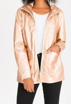 Tokyo Laundry - Metallic Coated Jacket with Hood Rose