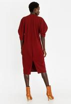 STYLE REPUBLIC - Sleeve Detail Dress Burgundy