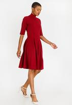 edit - Turtle Neck Fit and Flare Dress Dark Red
