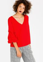 STYLE REPUBLIC - Ruched Sleeve Blouse Red