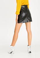 STYLE REPUBLIC - Leather-like Frill Mini Skirt Black