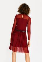 c(inch) - Mesh Detail Dress Burgundy