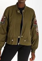 STYLE REPUBLIC - Embroidered Bomber Jacket Dark Green