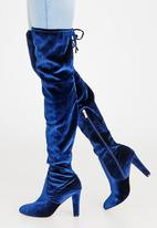 Sissy Boy - Heeled Thigh High Boots Navy