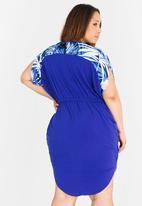 RUFF TUNG - Amber Palm Print Dress Cobalt