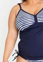 Jacqueline Plus - Stripe Tankini Set Blue and White